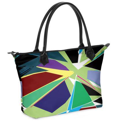 Shattered Zip Top Handbag