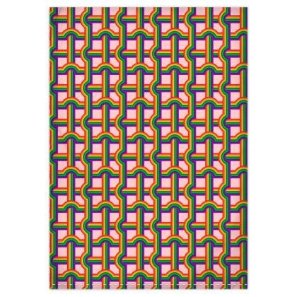 Pink rainbow grid green rainbow reversible duvet cover