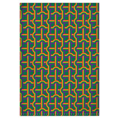 Green rainbow grid pink rainbow reversible duvet cover