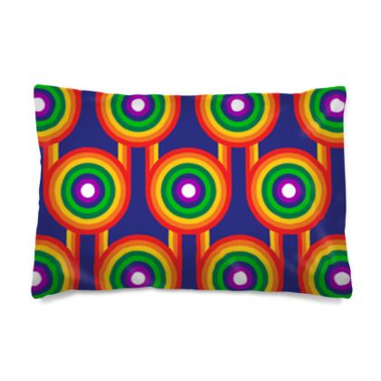 Blue rainbow white rainbow grid reversible pillowcase
