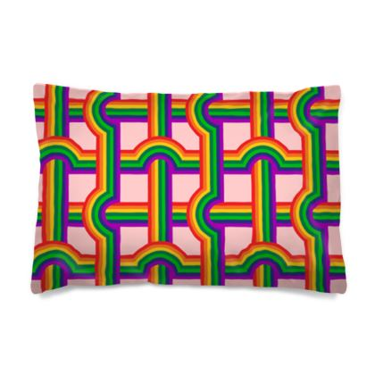 Pink rainbow grid green rainbow reversible pillowcase