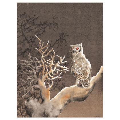 Satin Poster Print 30.4 x 40.6cms :Title :Red Giant  : Wildlife : Birdlife : Bird of prey : Eagle owl : Nightlife