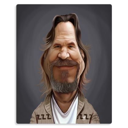 Jeff Bridges Celebrity Caricature Metal Print