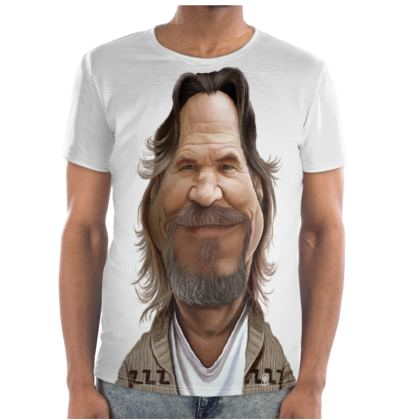 Jeff Bridges Celebrity Caricature Cut and Sew T Shirt