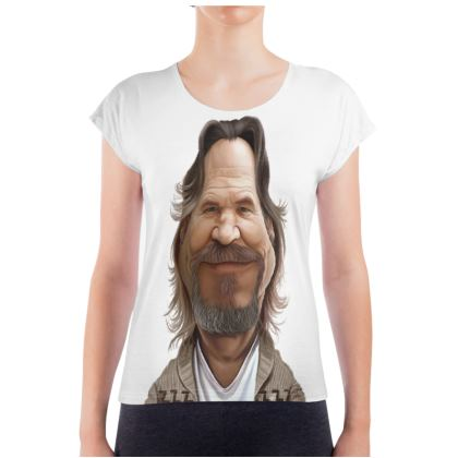 Jeff Bridges Celebrity Caricature Ladies T Shirt