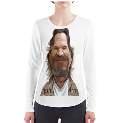 Jeff Bridges Celebrity Caricature ladies Long Sleeve Shirt