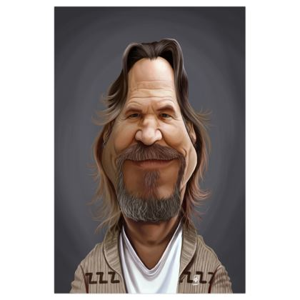 Jeff Bridges Celebrity Caricature Art Print