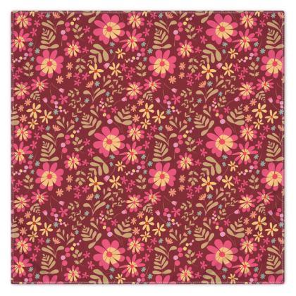 Beautiful Botanica Floral Print Scarf - Ruby Wine