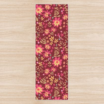 Beautiful Botanica  Floral Print Yoga mat - Ruby Wine