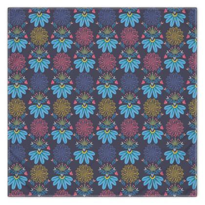 Blue Floral Craft Scarf Wrap or Shawl