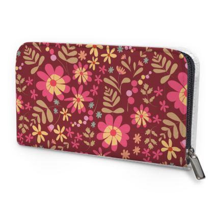Beautiful Botanica Floral Print Leather Zip Purse -Ruby Wine