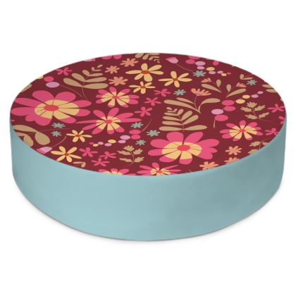 Beautiful Botanica Floral Print Round Floor Cushion