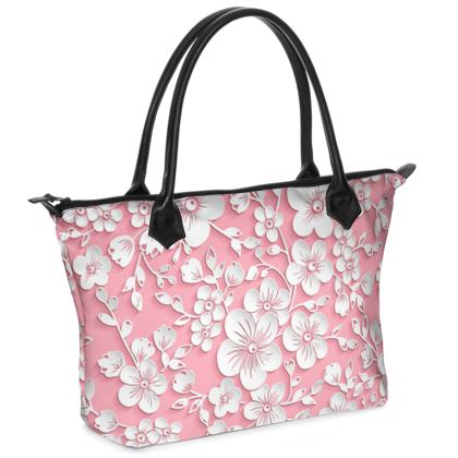 Zip Top Handbag Pink Sakura