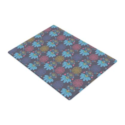 Blue Floral Craft  Glass Chopping Boards