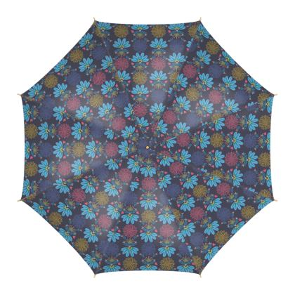 Blue Floral Craft  Umbrella