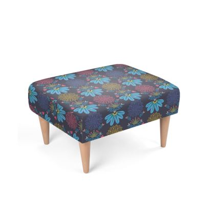 Blue Floral Craft Footstool