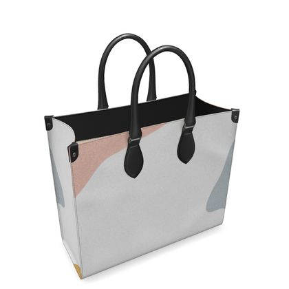 Leather Shopper Bag - Abstract Pastel Stone