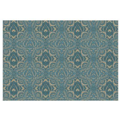 Art deco Mandala Blue Teal Gold - fabric Printing