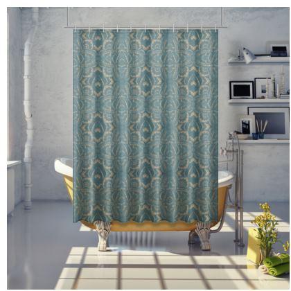 Art deco Mandala Blue Teal Gold - shower curtain