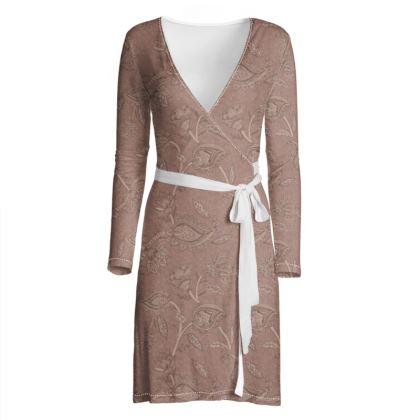 Oriental paisley pattern blush - Wrap dress