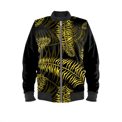 Jungle Print Black Yellow Designer Mens Bomber Jacket