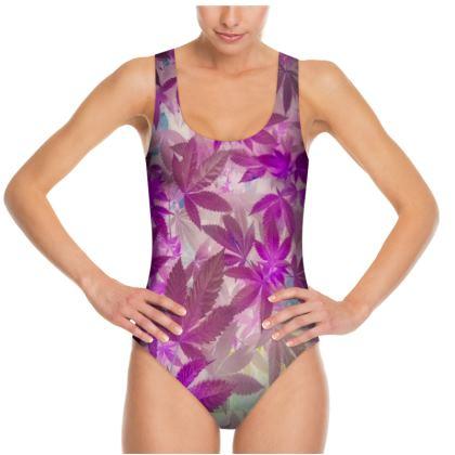 Pink Cannaflauge 1 piece Swim suit