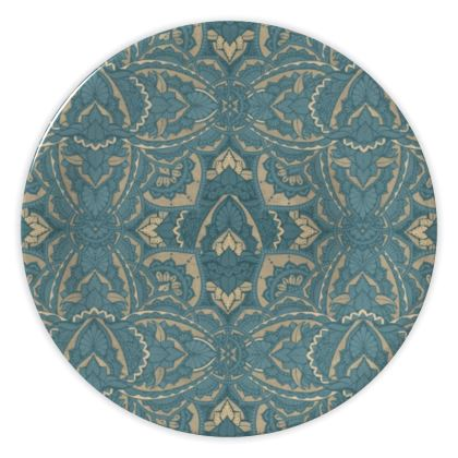 Art deco teal pattern - China porcelain plate