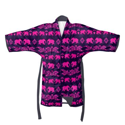Luxury Designer Indian Elephant Print Kimono