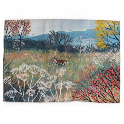 Across Autumn Meadow fox tea towel