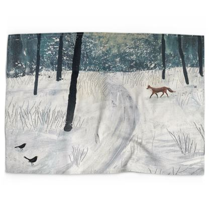 Moonlight Shadow, fox in the snow tea towel