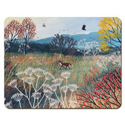 Across Autumn Meadow fox place mat