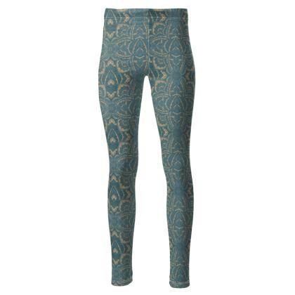 Art deco Mandala Blue Teal Gold - High waisted legging