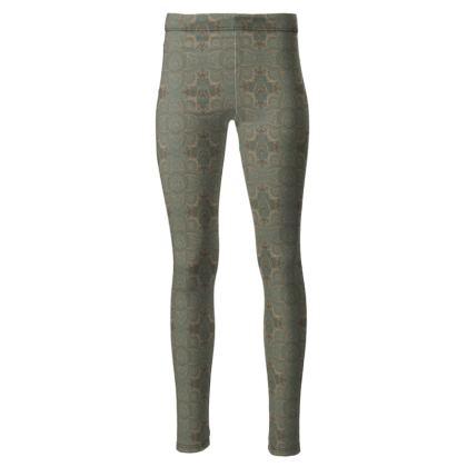 Art deco vintage green & Gold  - High waisted leggings