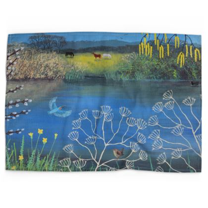 Tea towel with 'Kingfisher Blue' design by Jo Grundy