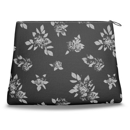 Canvas Shell Clutch - Flowers and Leaves (Night)