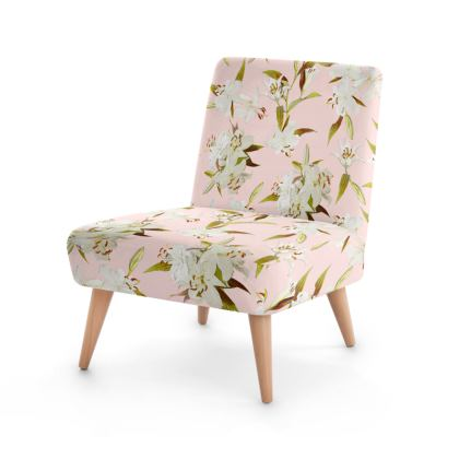 Beech wood x Velour - Occasional Chair - Lilies in Pink
