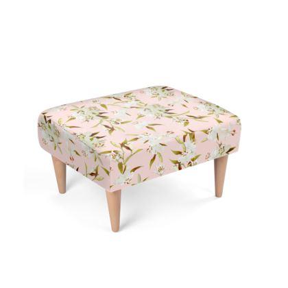 Beechwood x Velour - Footstool - Lilies in Pink