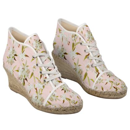Heeled Espadrille - Canvas x Jute Natural Sneaker look Shoes - Lilies in Pink