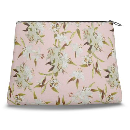 Canvas Shell Clutch - Lilies in Pink