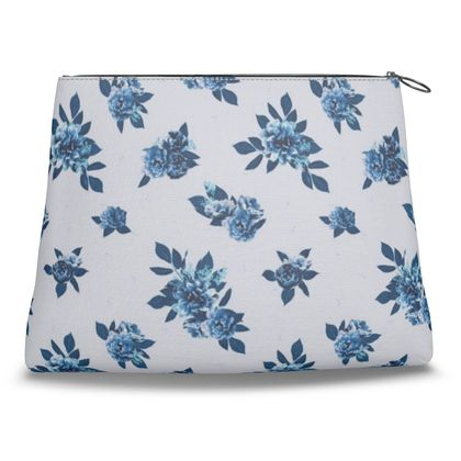 Canvas Shell Clutch - Flowers and Leaves (Cerulean)