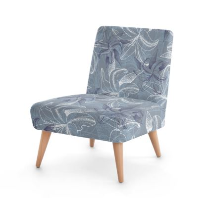 Beech wood x Velour - Occasional Chair - Clement Lily (Ash Blue)