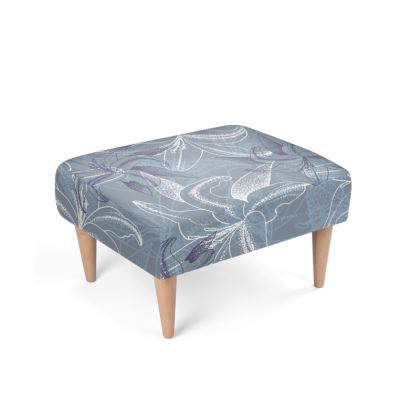 Beechwood x Velour - Footstool - Clement Lily (Ash Blue)
