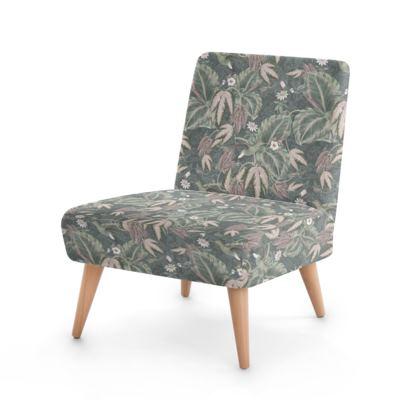 Vintage Green & grey hummingbirds foliage - Occasional chair