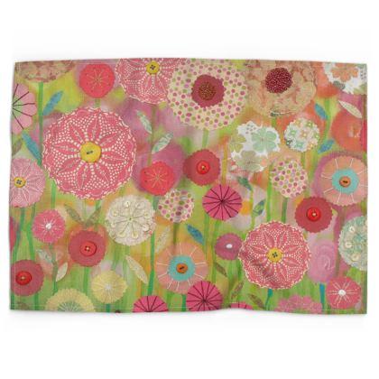 Spring Green Flower Meadow Tea Towel