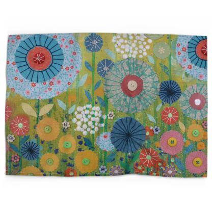 Indian Summer Flower Meadow Tea Towel