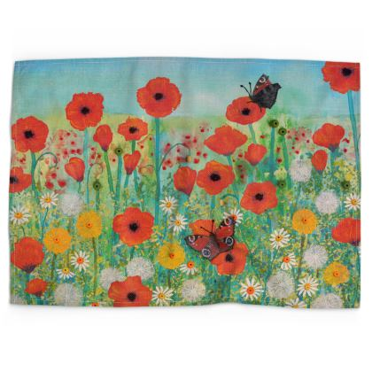 Tea Towel with Peacocks Butterflies and Poppies design by Jo Grundy