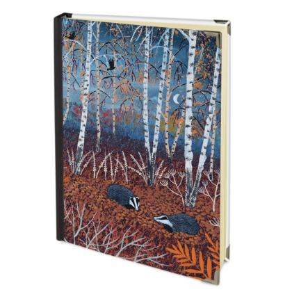 Journal with 'The Badgers of Autumn Wood' design by Jo Grundy