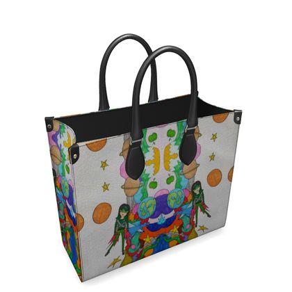 Pop Colourfull Elisavet in Space Leathe Shopper Bag