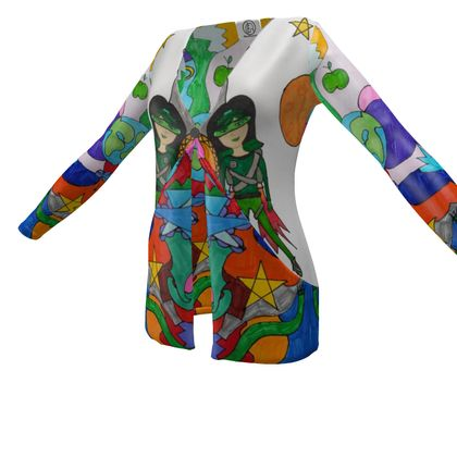 Pop Colourfull Elisavet in Space Ladies Cardigan With Pockets