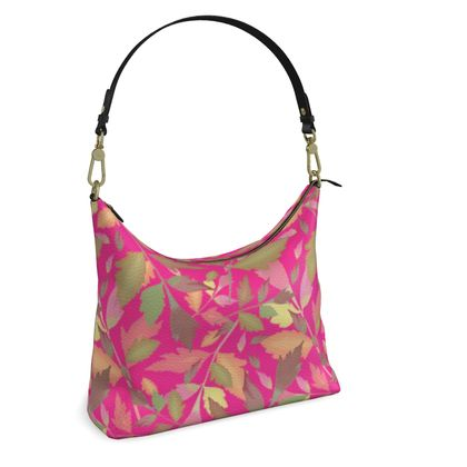 Square Hobo Bag  Cathedral Leaves  Peony